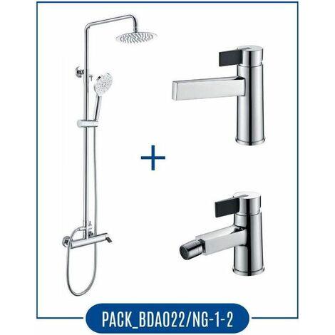 Pack Barra de ducha cromado/negro monomando + grifo lavabo + grifo bide - Serie Elba