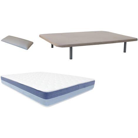 Pack Base tapizada (patas incluidas)+colchon HR BASIC BLUE VISCO+ almohada DE REGALO 090X180