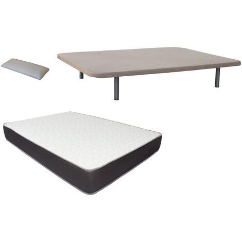 Pack Base tapizada (patas incluidas)+colchon HR MEGA CONFORT VISCO+ almohada DE REGALO 150X200