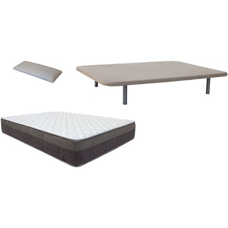 Pack Base tapizada (patas incluidas)+colchon MARMOTA VISCO+ almohada DE REGALO 150X190