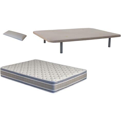Pack Base tapizada (patas incluidas)+colchon NATUR VISCO+ almohada DE REGALO 090X200