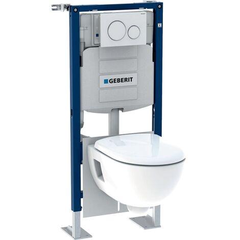 Pack bâti-support pour WC suspendu Geberit Duofix 112 cm avec réservoir à encastrer Sigma 12 cm, plaque de déclenchement Sigma20 et WC suspendu Renova semi-caréné Frais de port offerts