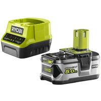 Pack batterie RYOBI 18V OnePlus 5.0Ah LithiumPlus - 1 chargeur rapide 2.0Ah RC18120-150