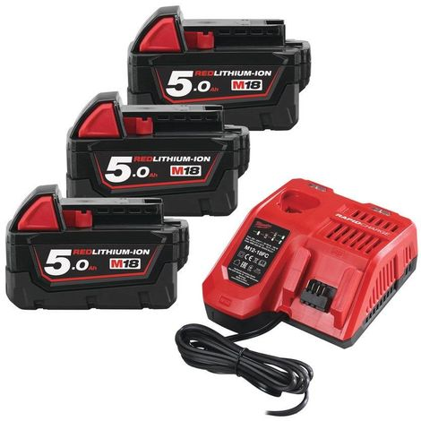 Pack batteries 18V Li-Ion M18 NRG-503 - (3x 5.0Ah) + chargeur | 4933451423 - Milwaukee