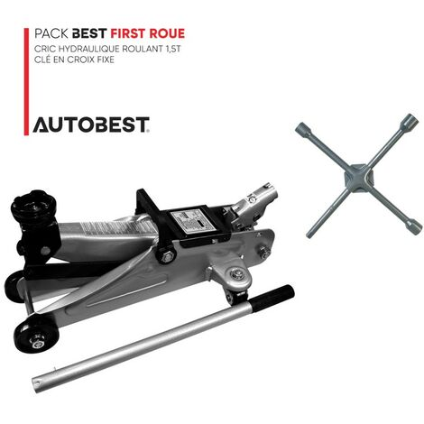Pack BEST FIRST ROUE Cric hydraulique roulant 1,5t et clé en croix fixe renforcée