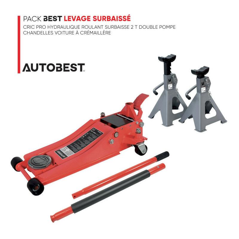 Autobest - Pack BEST LEVAGE SURBAISSÉ Cric pro hydraulique roulant surbaisse 2 t double pompe et chandelles voiture à crémaillère