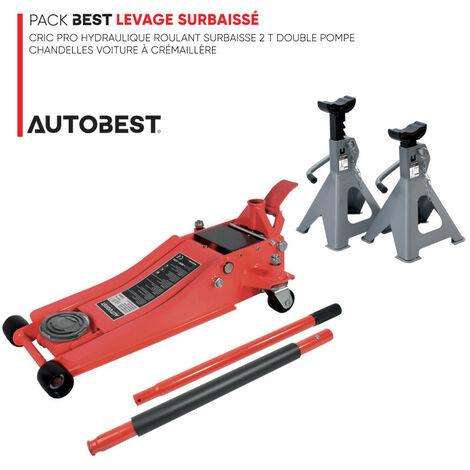 Pack BEST LEVAGE SURBAISSÉ Cric pro hydraulique roulant surbaisse 2 t double pompe et chandelles voiture à crémaillère