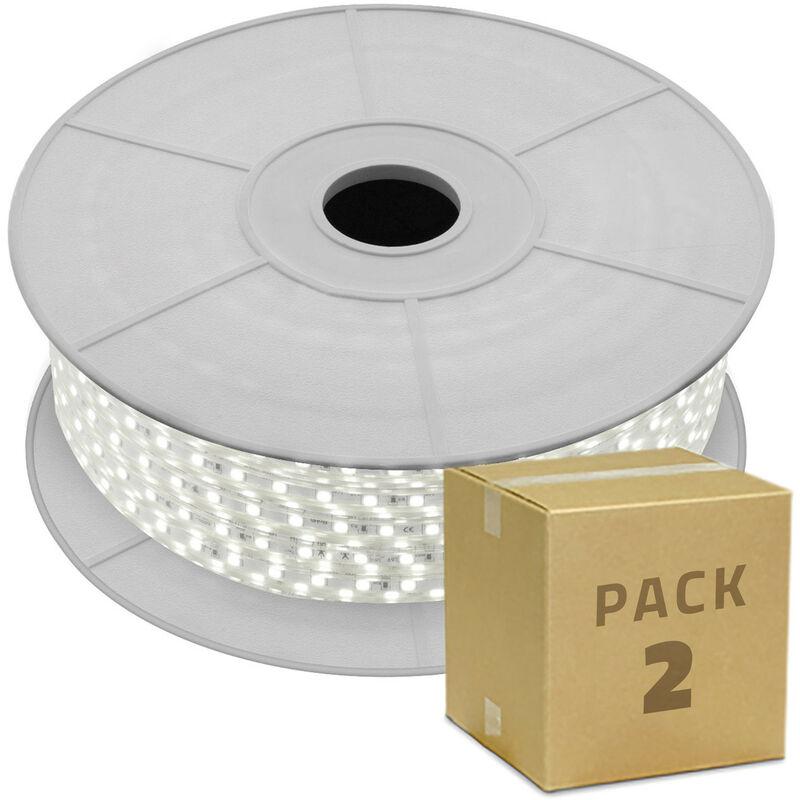 Pack Bobina Striscia LED 220V AC SMD5050 60 LED/m (2 Un.) Taglio ad Ogni 100cm Bianco Caldo