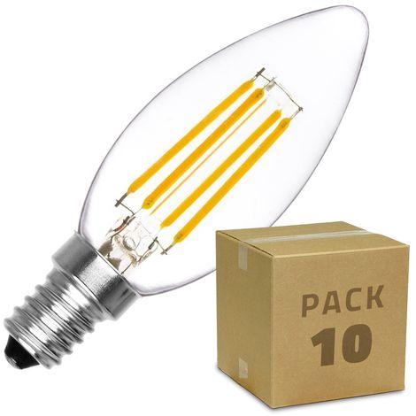Pack Bombilla LED E14 Casquillo Fino Filamento Classic C35 2W (10 un) Blanco Cálido 2000K - 2500K