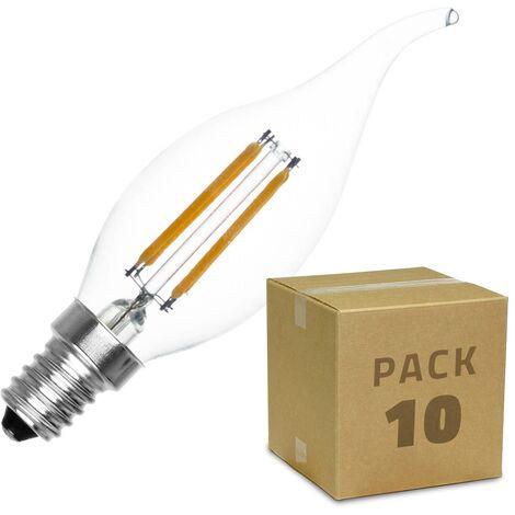 Pack Bombilla LED E14 Casquillo Fino Regulable Filamento Murano C35 Vela 4W (10 un) Blanco Cálido 2000K - 2500K