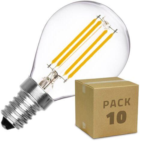 Pack Bombilla LED E14 Casquillo Fino Regulable Filamento Sphere G45 3W (10 un) Blanco Cálido 2000K - 2500K