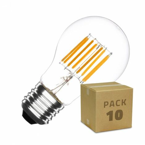 Pack Bombilla LED E27 Regulable Filamento Classic A60 6W (10 un)