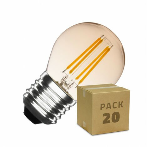 Pack Bombillas LED E27 Casquillo Gordo Regulable Filamento Gold Small Classic G45 4W (20 un) Blanco Cálido 2000K - 2500K