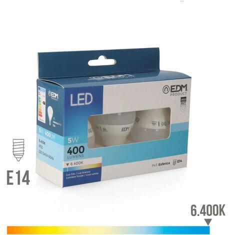 Pack bombillas LED esféricas 2+1 Gratis 5W E14 EDM -Disponible en varias versiones