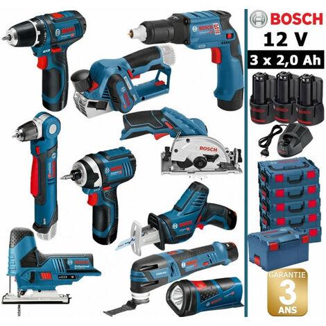 Pack BOSCH 12V 10 outils: GSR 12V-15 + GTB 12V-11 + GHO 12V-20 + GWB 12V-10 + GDR + GSK + GST + GSA + GOP + GLI + 3 batt 2Ah