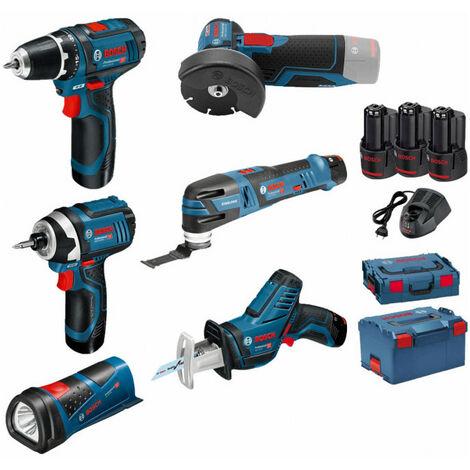 Pack BOSCH 12V 6 outils: Perceuse GSR 12V-15 + Meuleuse GWS 12V-76 + Visseuse à chocs GDR 12V-105 + Scie sabre GSA 12V-14 + Découpeur-ponceur GOP 12V-28 + Lampe GLI 12V-80 + 3 batt 2Ah BOSCH