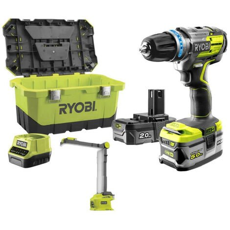 Pack brushless perceuse-visseuse à percussion RYOBI 18 V OnePlus R18PDBL - Lampe LED modulable R18ALF - 2 batteries - chargeur rapide R18PDBL-252LT