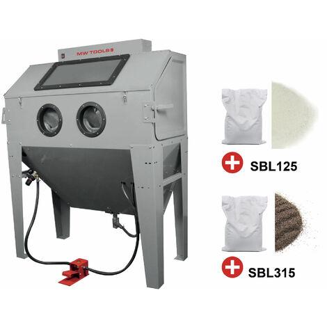 PACK Cabine de sablage professionnelle 420 L + 2x 25 kg d'abrasifs sable corindon et perles de verre MW-Tools CAT420SET
