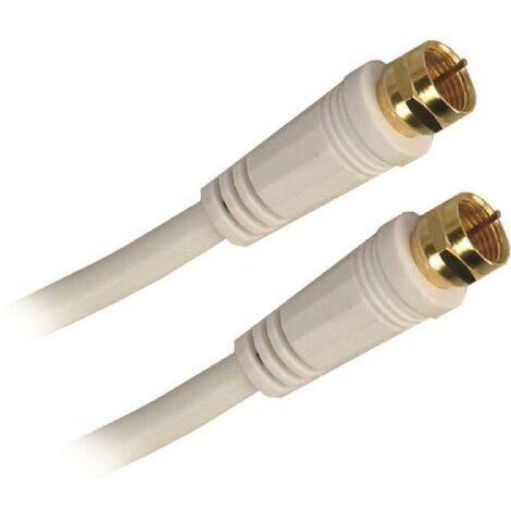Pack Cable Satellite Fiche F Male APM - 10m + Adaptateur Fiche F vers Antenne