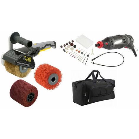 Pack cadeau rénovation: rénovateur REX120C 1300W FARTOOLS avec 3 brosses + rénovateur de précision 150W + 60 accessoires + sac