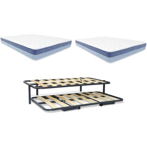 Pack Cama nido Eco + 2 colchones BASIC BLUE VISCO 090x180