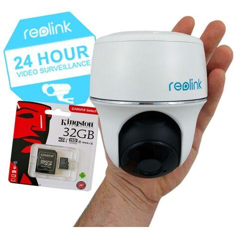 Pack caméra motorisée Reolink Argus PT + carte-SD - 100% sans-fil autonome IP WIFI / Plage horaire / IP64 / FHD / APP