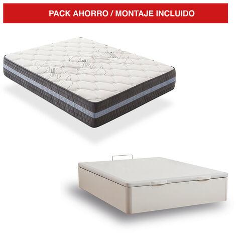 Pack Canapé Madera Blanco + Colchón Visco 30cm Grand Luxury 80x200 cm