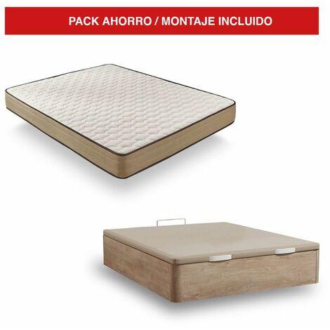 Pack Canapé Madera Cambrian + Colchón Bamboo 160x200 cm