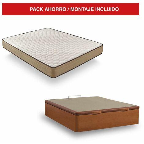 Pack Canapé Madera Cerezo + Colchón Bamboo 150x190 cm