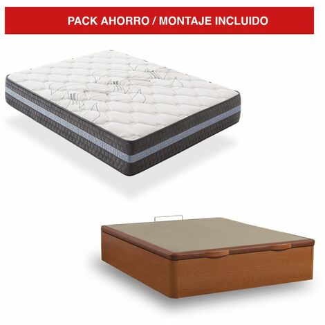Pack Canapé Madera Cerezo + Colchón Visco 30cm Grand Luxury 160x190 cm