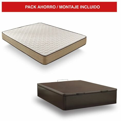 Pack Canapé Madera Wengué + Colchón Bamboo 140x200 cm