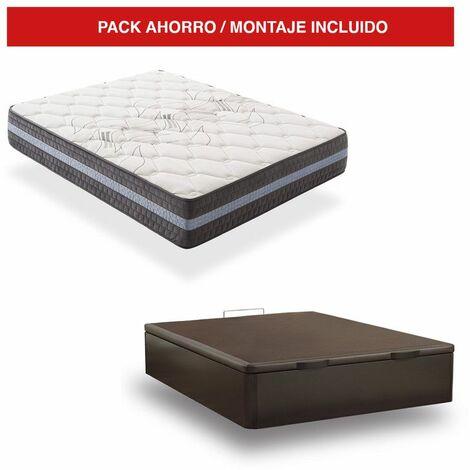 Pack Canapé Madera Wengué + Colchón Visco 30cm Grand Luxury 150x200 cm
