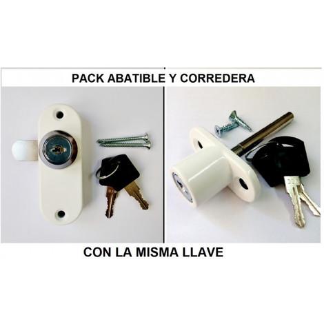 Pack Cerradura Abatible y Corredera Misma llave