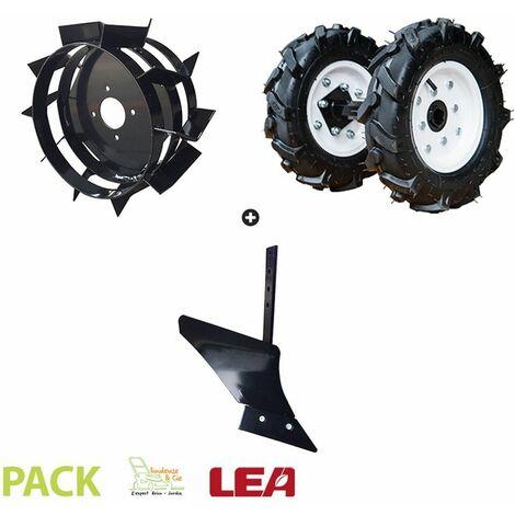 Pack charrue monosoc, roues agraires et fer LEA pour motobineuse et motoculteur toutes marques - Noir