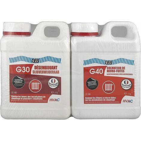 Pack chauffage GEB désembouant G30 Colmateur G40, 1 litre chaucun