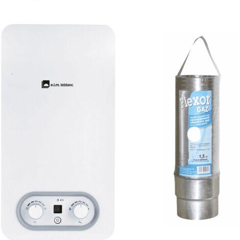 Pack Chauffe-eau gaz instantané, ELM LEBLANC, Ondea Hydropower, 10 l/min BUTANE PROPANE bas nox + gaine flexor cheminée