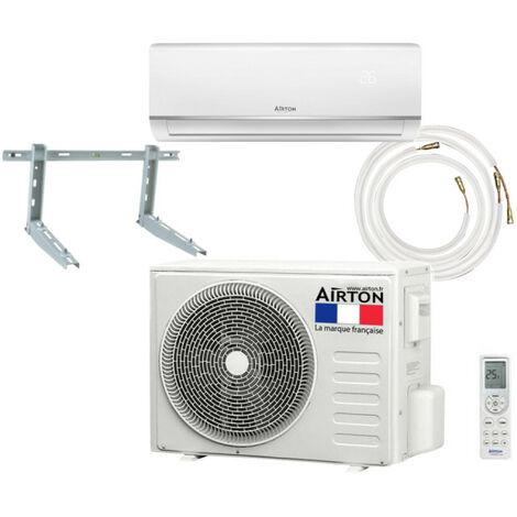 Pack Climatiseur reversible AIRTON - A Poser Soi-meme - 3400W - Readyclim 4M - Support mural - 409731SM
