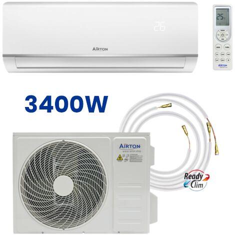 PACK: Climatiseur réversible AIRTON prêt à poser 3400W Monosplit + Liaison ReadyClim 4M en 1/4 3/8 + Kit Wifi