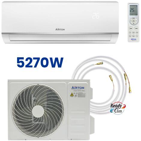 PACK: Climatiseur réversible AIRTON prêt à poser 5270W Monosplit + Liaison ReadyClim 4M en 1/4 3/8 + Kit Wifi