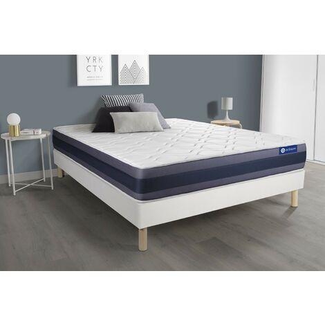 Pack colchón Actiflex morpho 140x200cm + Somier multiláminas, Muelles ensacados y espuma viscoelástica, 3 zonas de confort