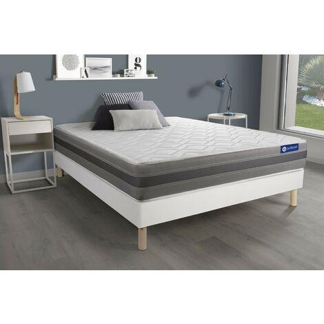 Pack colchón Actiflex relax 135x200cm + Somier multiláminas, Muelles ensacados y espuma viscoelástica, 3 zonas de confort