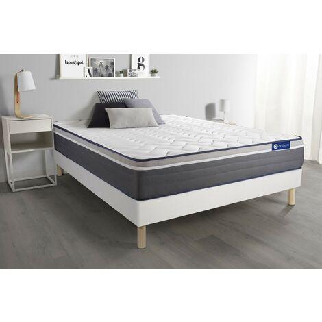 Pack colchón Actilatex plus 140x200cm + Somier multiláminas, Látex y espuma viscoelástica, 7 zonas de confort