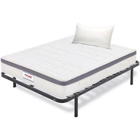 Pack Colchon Flex Airvex Supreme 105x182 + Somier Dormilon con patas + Almohada Lider