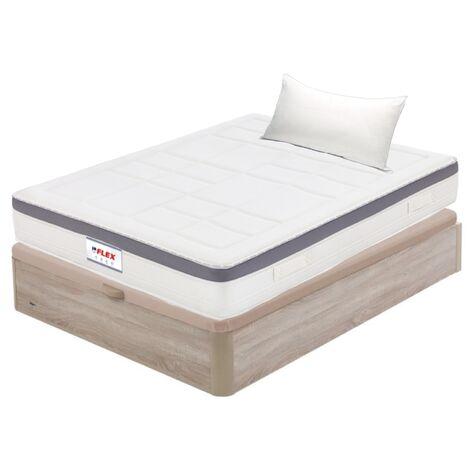 Pack Colchon Flex Airvex Supreme 105x190 + Canape Abatible Madera 19 Natural + Almohada Lider