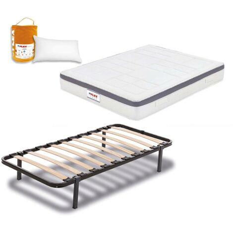 Pack Colchon Flex Airvex Supreme 105x200 + Somier Dormilon con patas + Almohada Lider