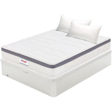 Pack Colchon Flex Airvex Supreme 150x190 + Canape Abatible Madera 19 Blanco + 2 Almohadas Lider