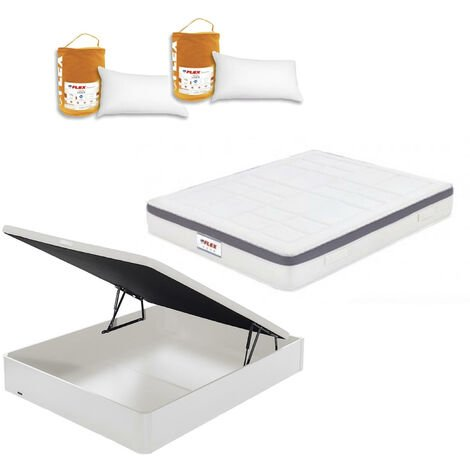 Pack Colchon Flex Airvex Supreme 150x200 + Canape Abatible Madera 19 Blanco + 2 Almohadas Lider