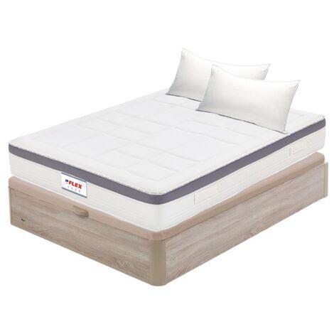 Pack Colchon Flex Airvex Supreme 150x200 + Canape Abatible Madera 19 Natural + 2 Almohadas Lider