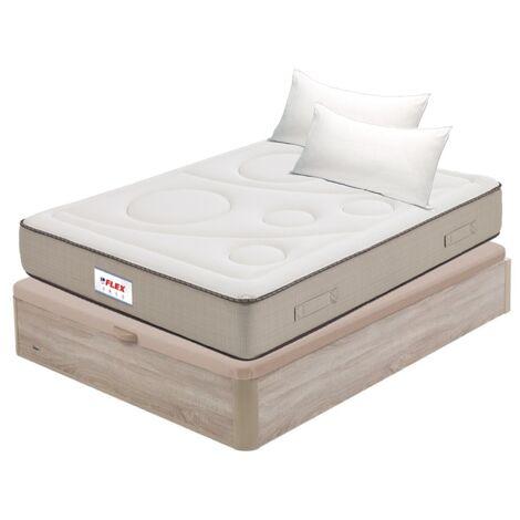 Pack Colchon Flex Visco Airvex Supreme 135x200 + Canape Abatible Madera 19 Natural + 2 Almohadas Lider