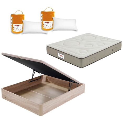 Pack Colchon Flex Visco Airvex Supreme 150x200 + Canape Abatible Madera 19 Natural + 2 Almohadas Lider